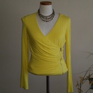 BEBE Yellow Sexy Stretch Top Size Large NWOT
